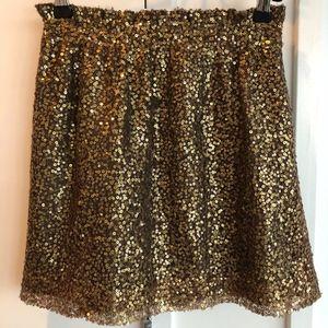 J.Crew Women's Gold & Bronze Sequin Elastic Skirt